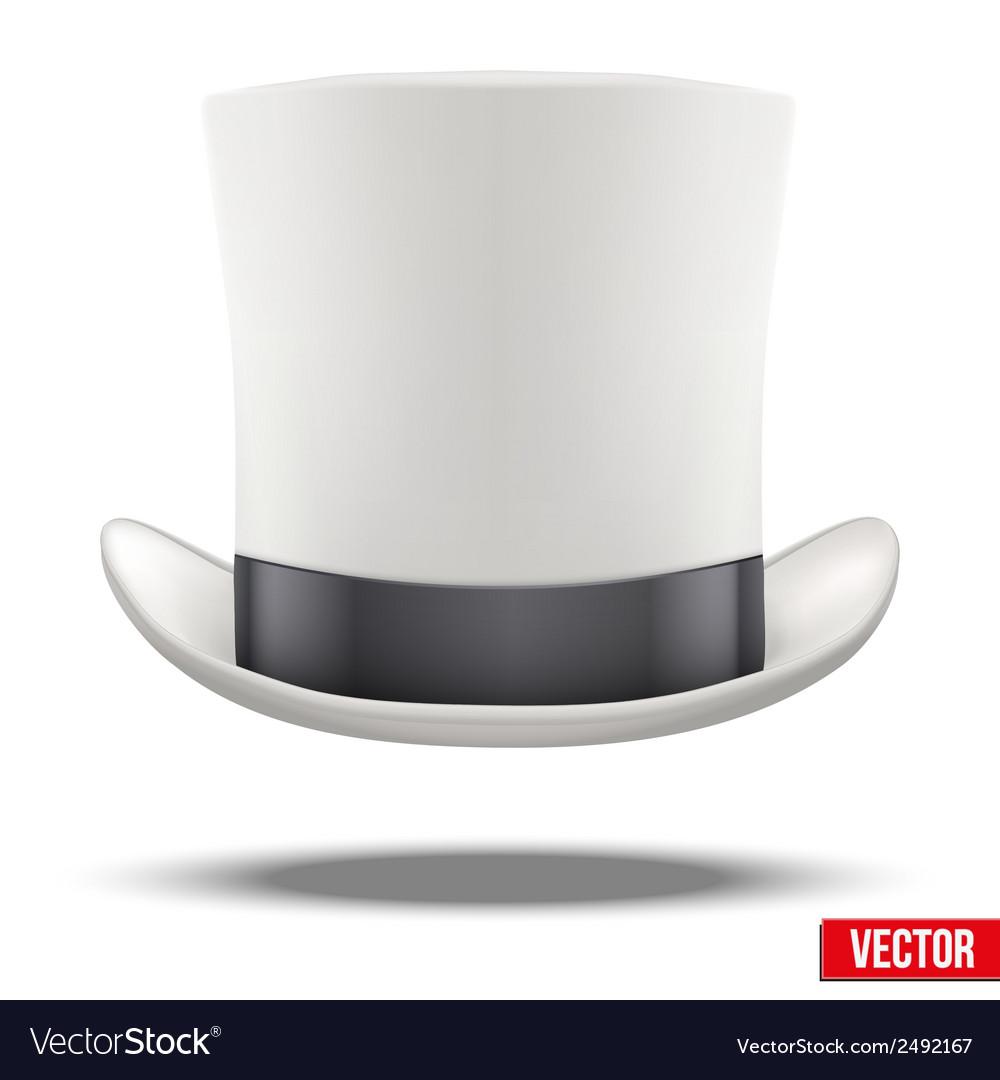 White gentleman hat cylinder with black ribbon vector | Price: 1 Credit (USD $1)