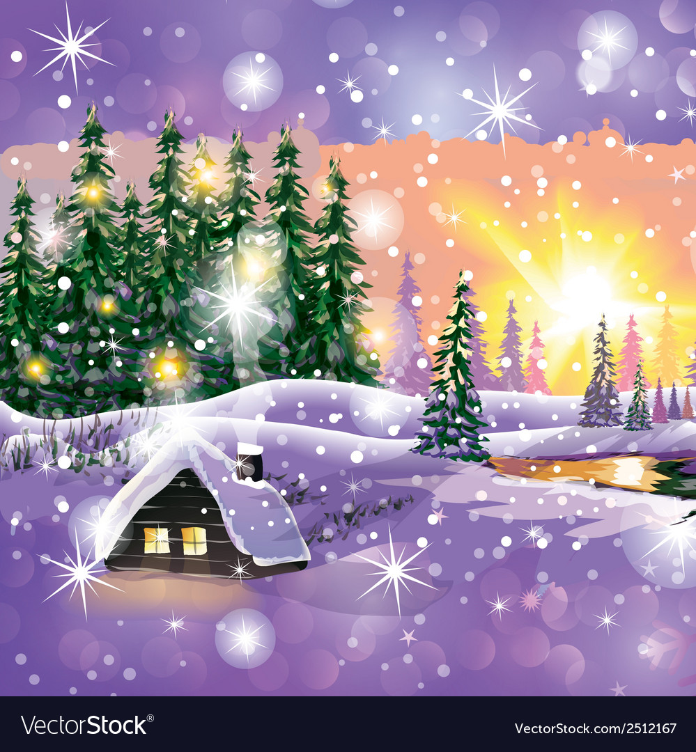 Winter landscape with house in forest vector | Price: 3 Credit (USD $3)