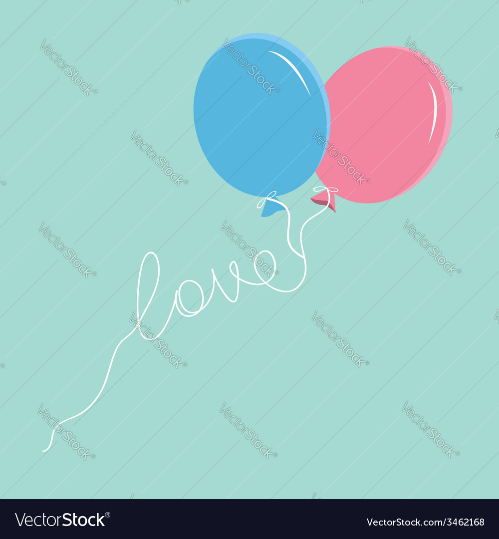 Blue and pink balloons with love thread flat vector   Price: 1 Credit (USD $1)