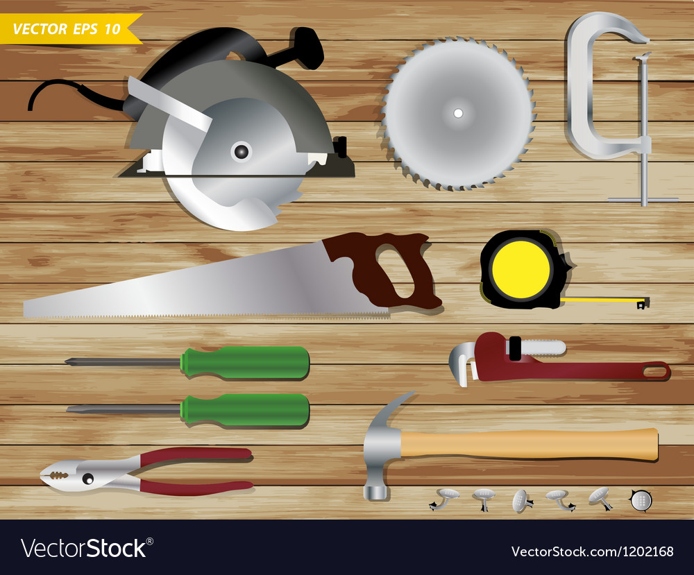Carpentry tools on wooden texture background vector | Price: 3 Credit (USD $3)