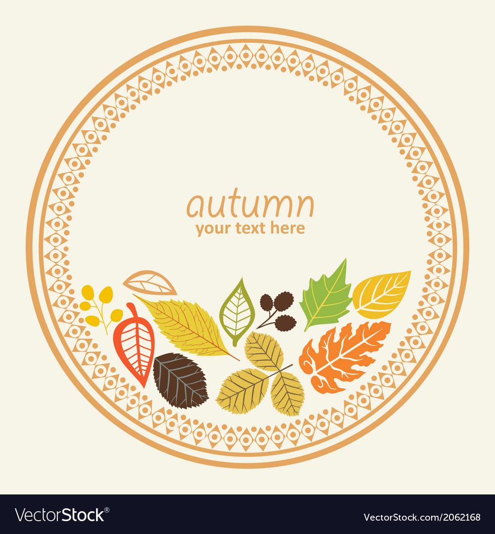 Design round element with autumn leaf decorative vector | Price: 1 Credit (USD $1)