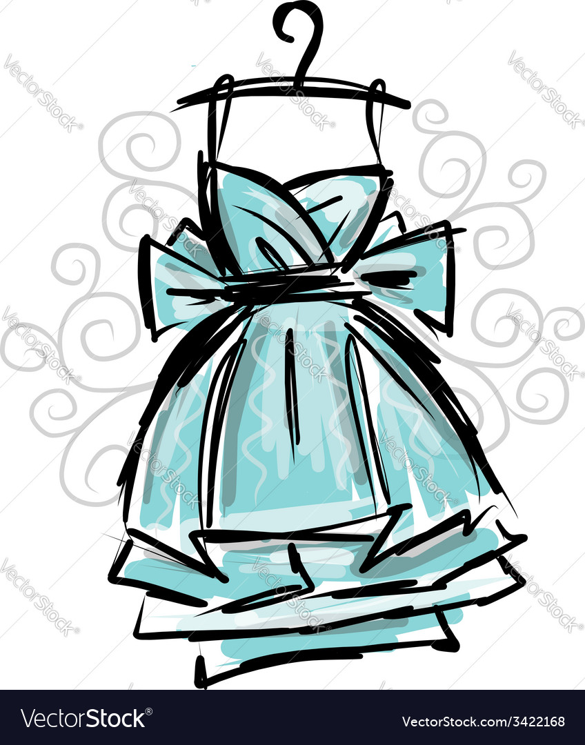 Dress on hangers sketch for your design vector | Price: 1 Credit (USD $1)