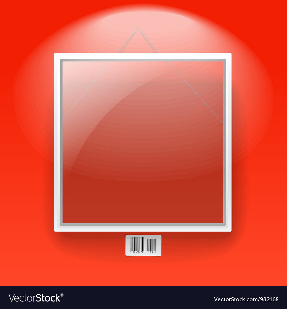Glass board with white frame on a red wall vector | Price: 1 Credit (USD $1)