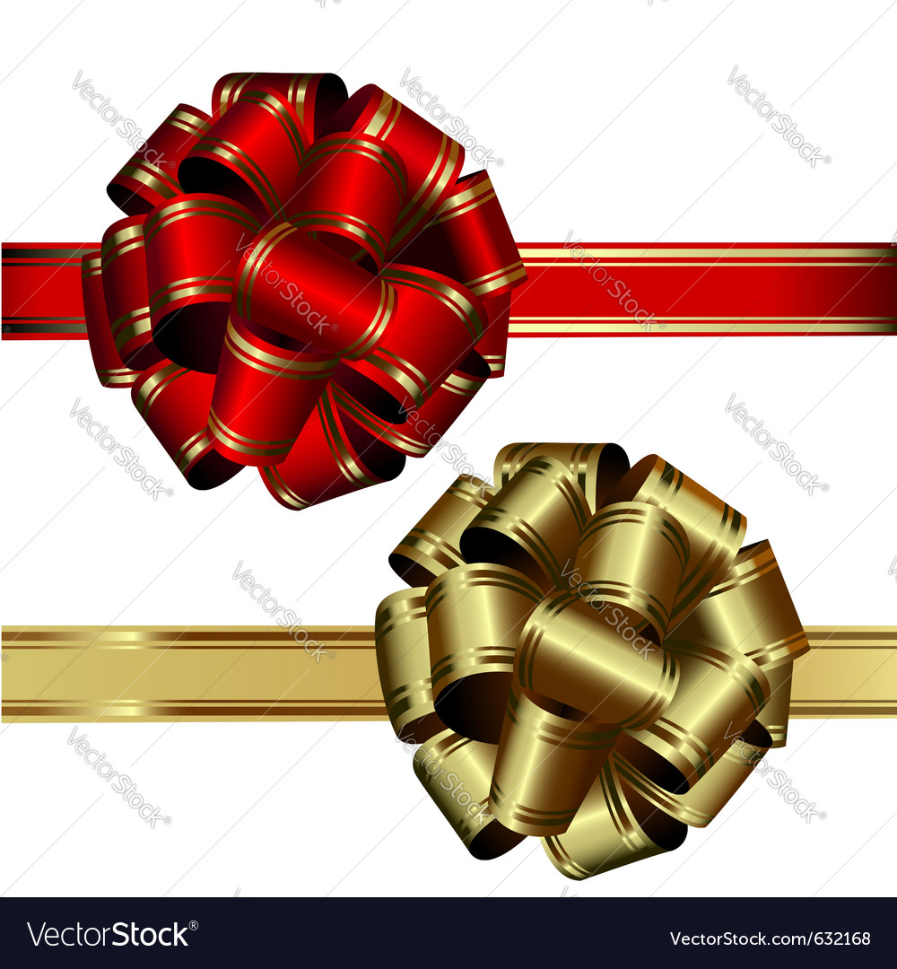 Set of two bows red and gold on a white background vector | Price: 1 Credit (USD $1)