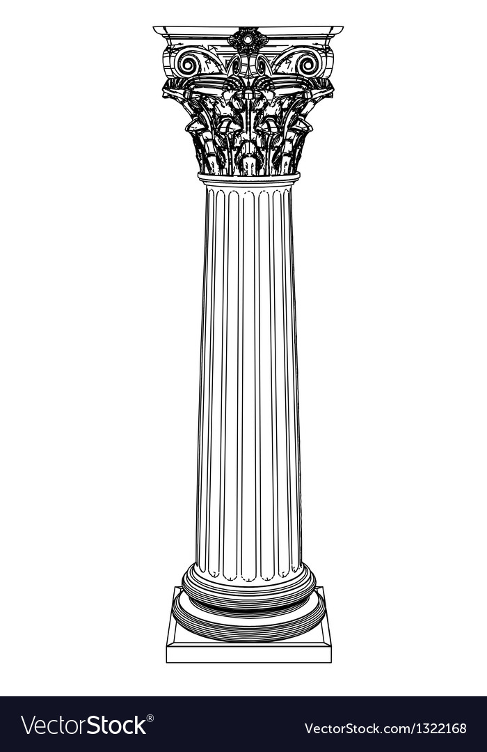 Single greek column isolated on white vector | Price: 1 Credit (USD $1)