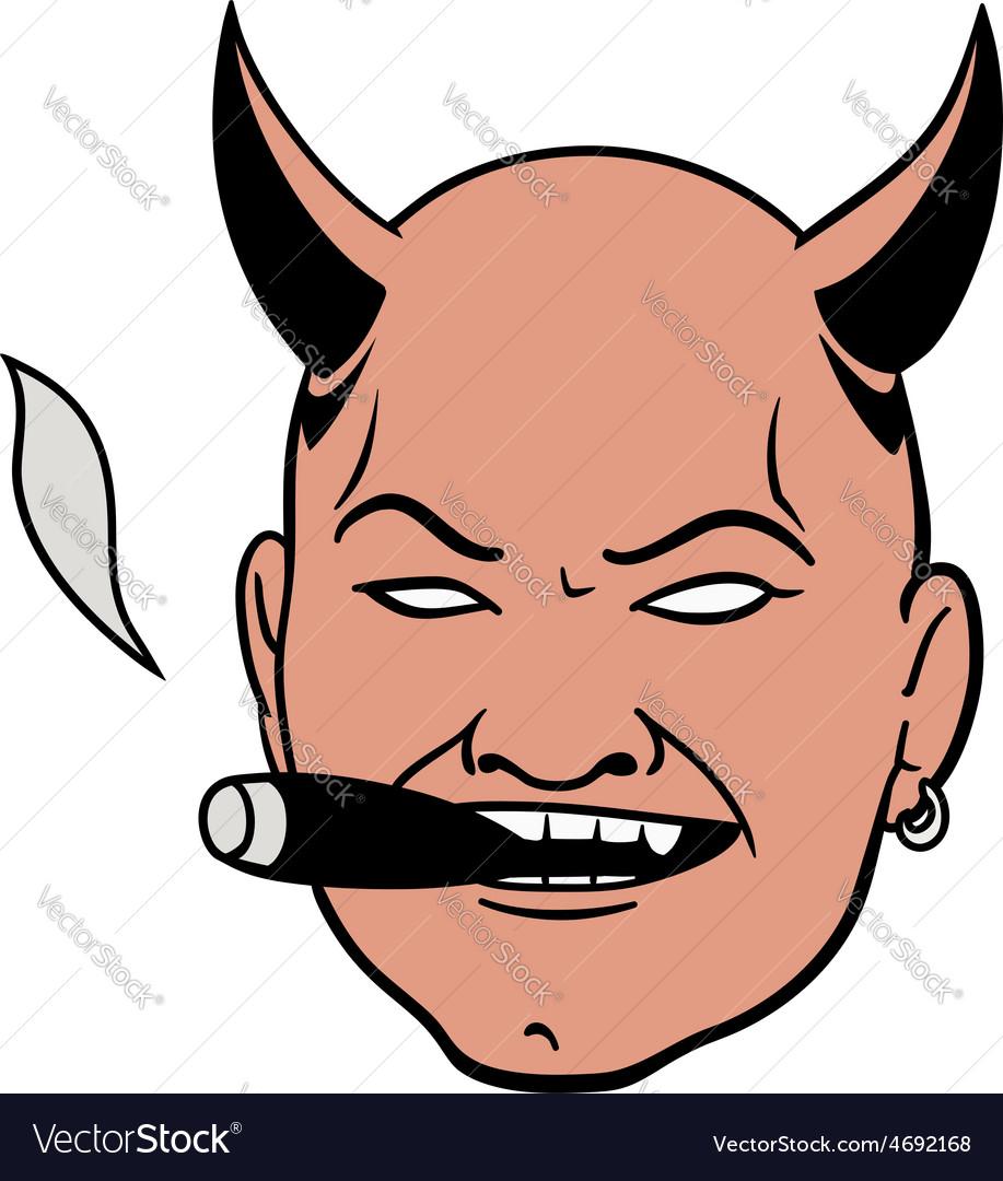 Smoking devil head vector | Price: 1 Credit (USD $1)