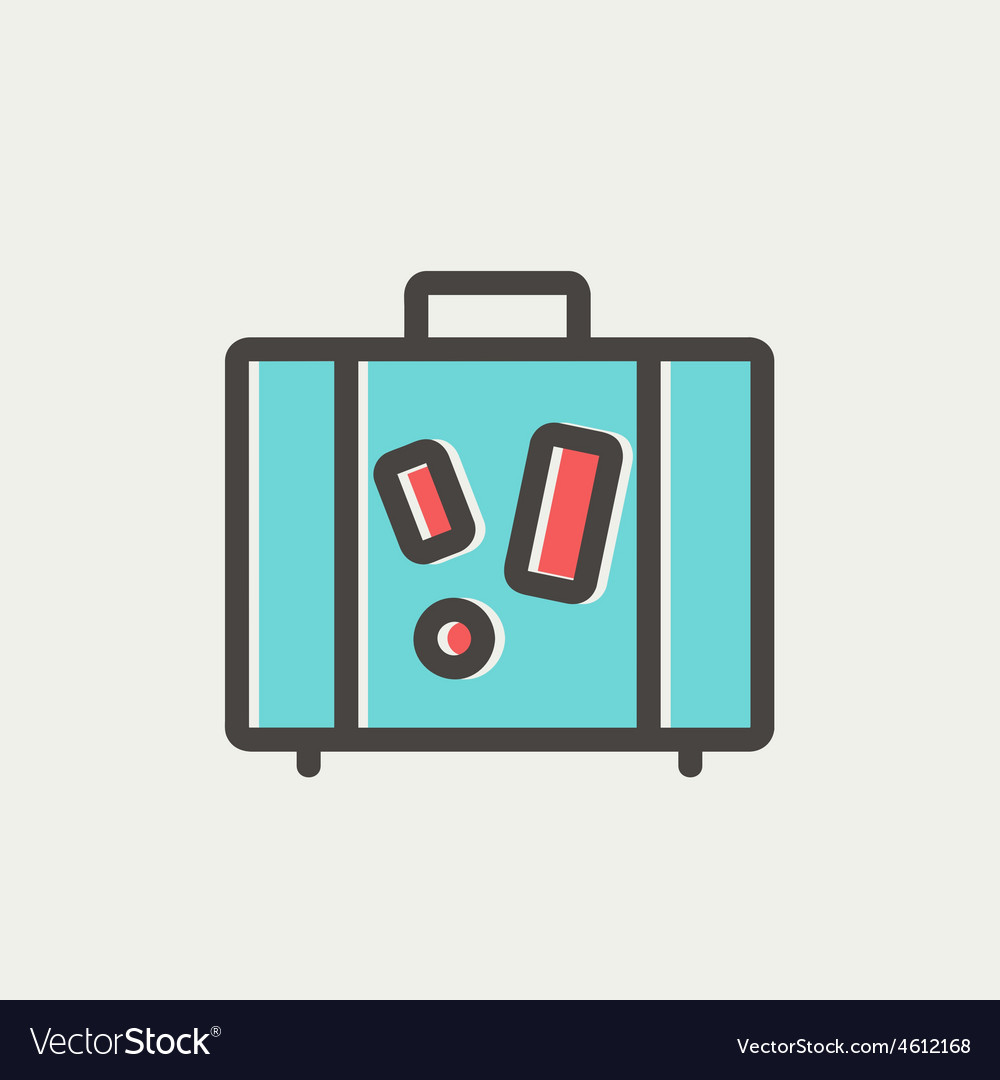 Travel luggage thin line icon vector | Price: 1 Credit (USD $1)