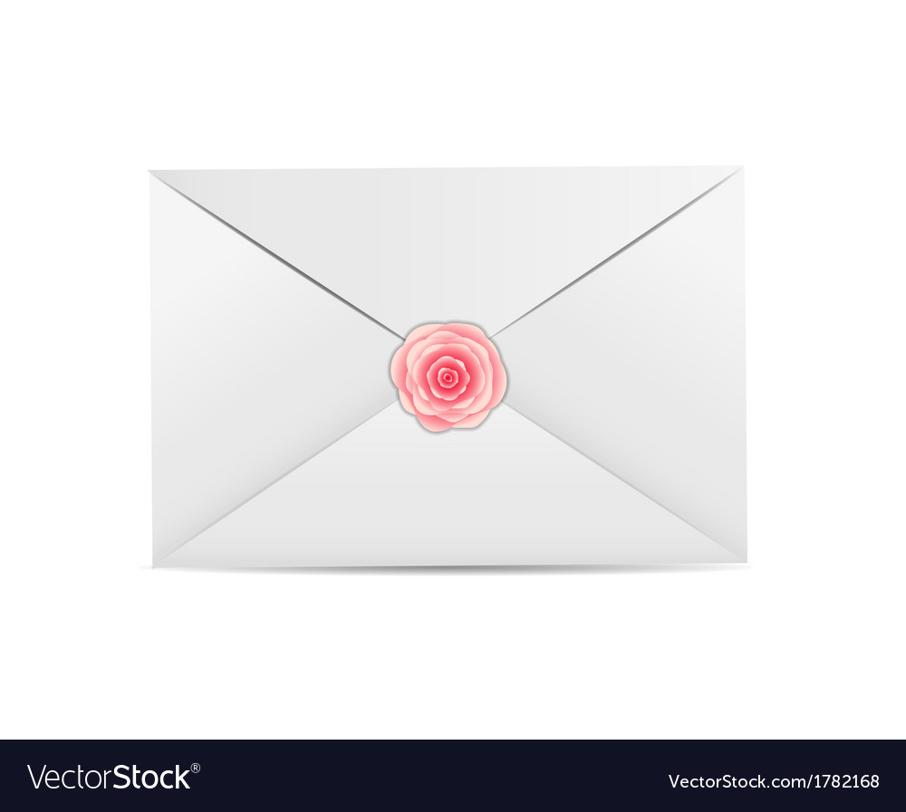 Valentines day card with envelope and rose vector | Price: 1 Credit (USD $1)