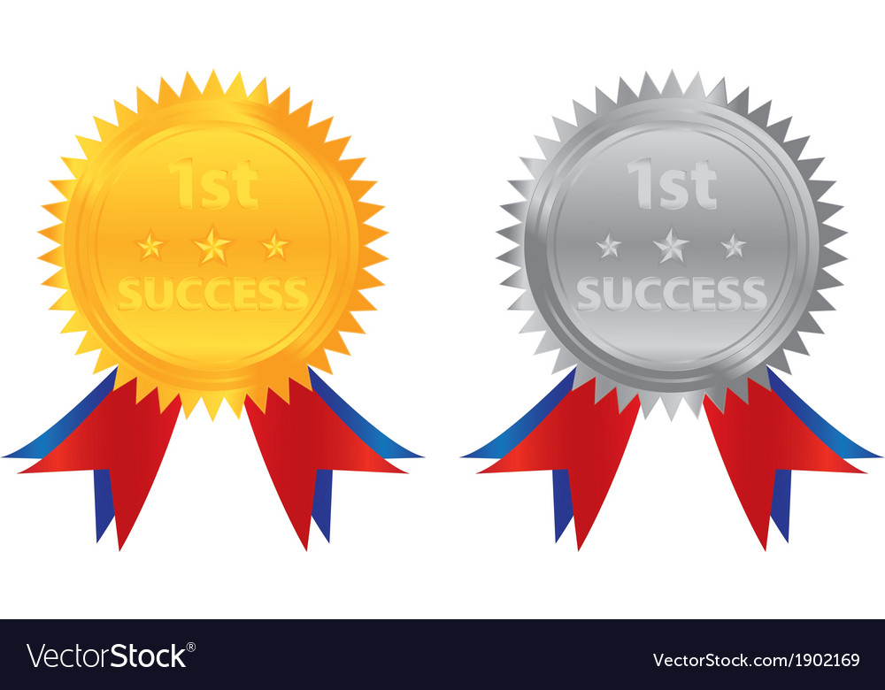 1st success gold silver coin vector | Price: 1 Credit (USD $1)