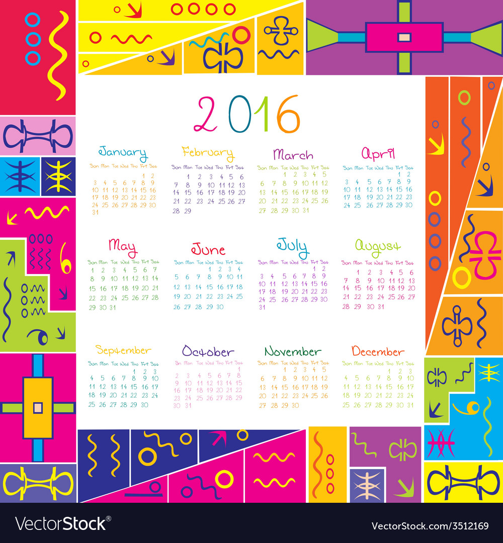 2016 calendar with frame for kids vector   Price: 1 Credit (USD $1)
