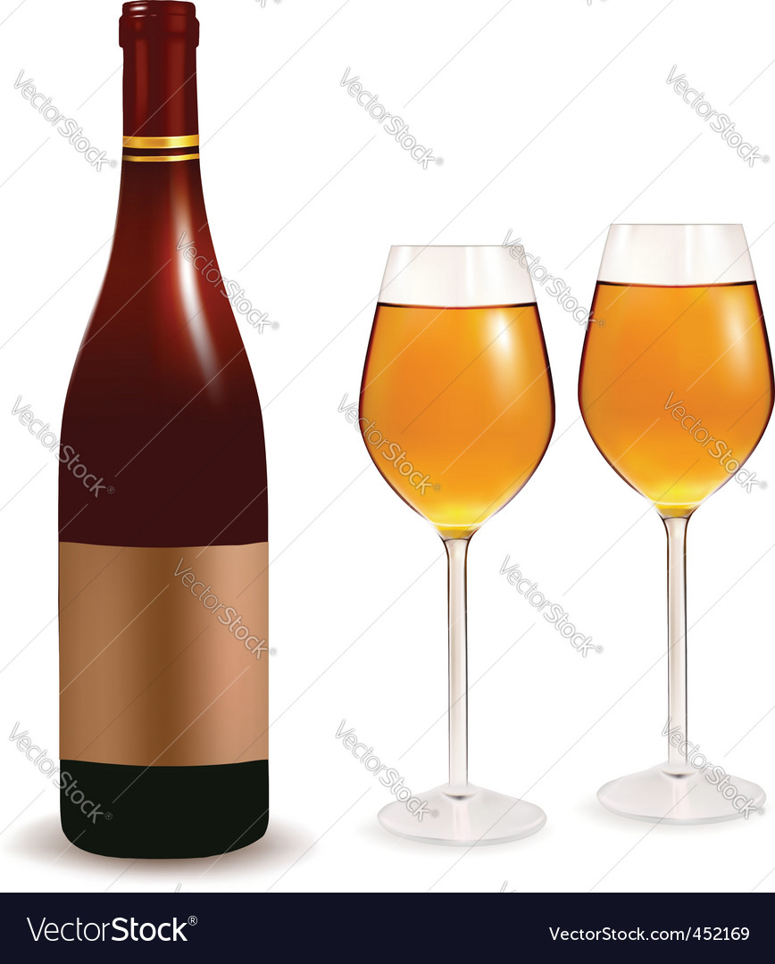 Bottle and two glasses vector | Price: 1 Credit (USD $1)