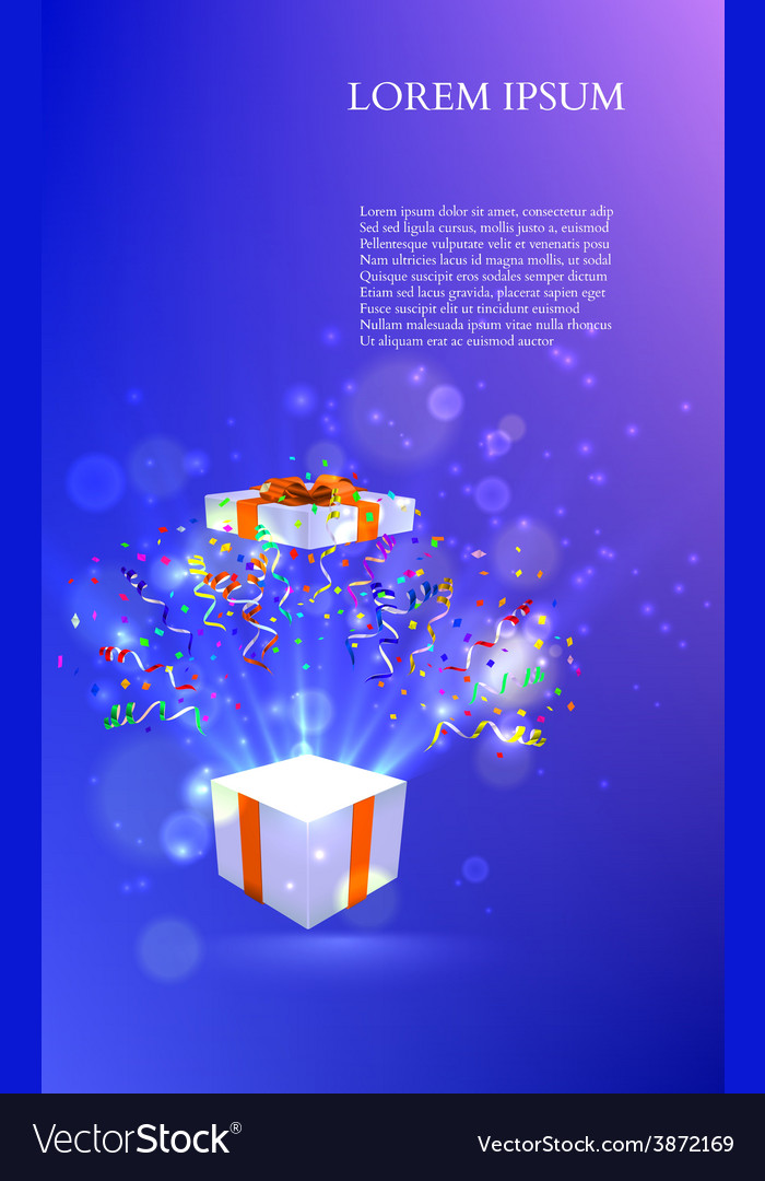 Open gift with fireworks from confetti vector | Price: 1 Credit (USD $1)