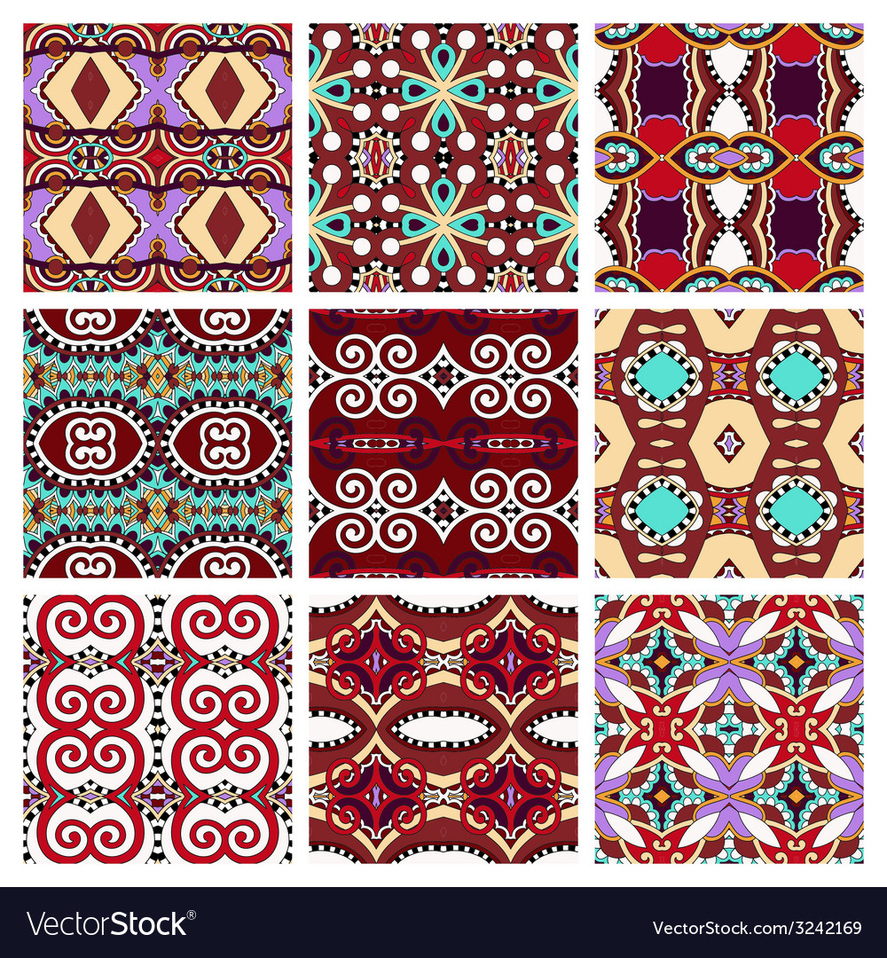 Set of different violet colour seamless vintage vector | Price: 1 Credit (USD $1)