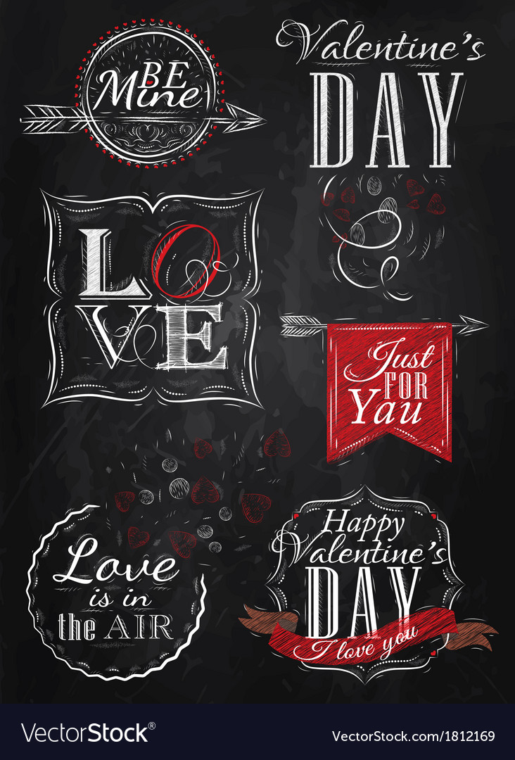 Set valentines day red vector | Price: 1 Credit (USD $1)