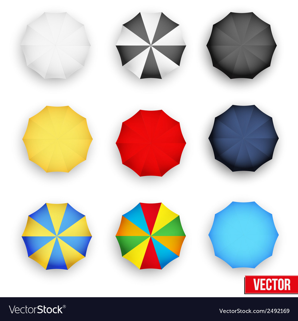 Symbol set of a parasol top view vector | Price: 1 Credit (USD $1)