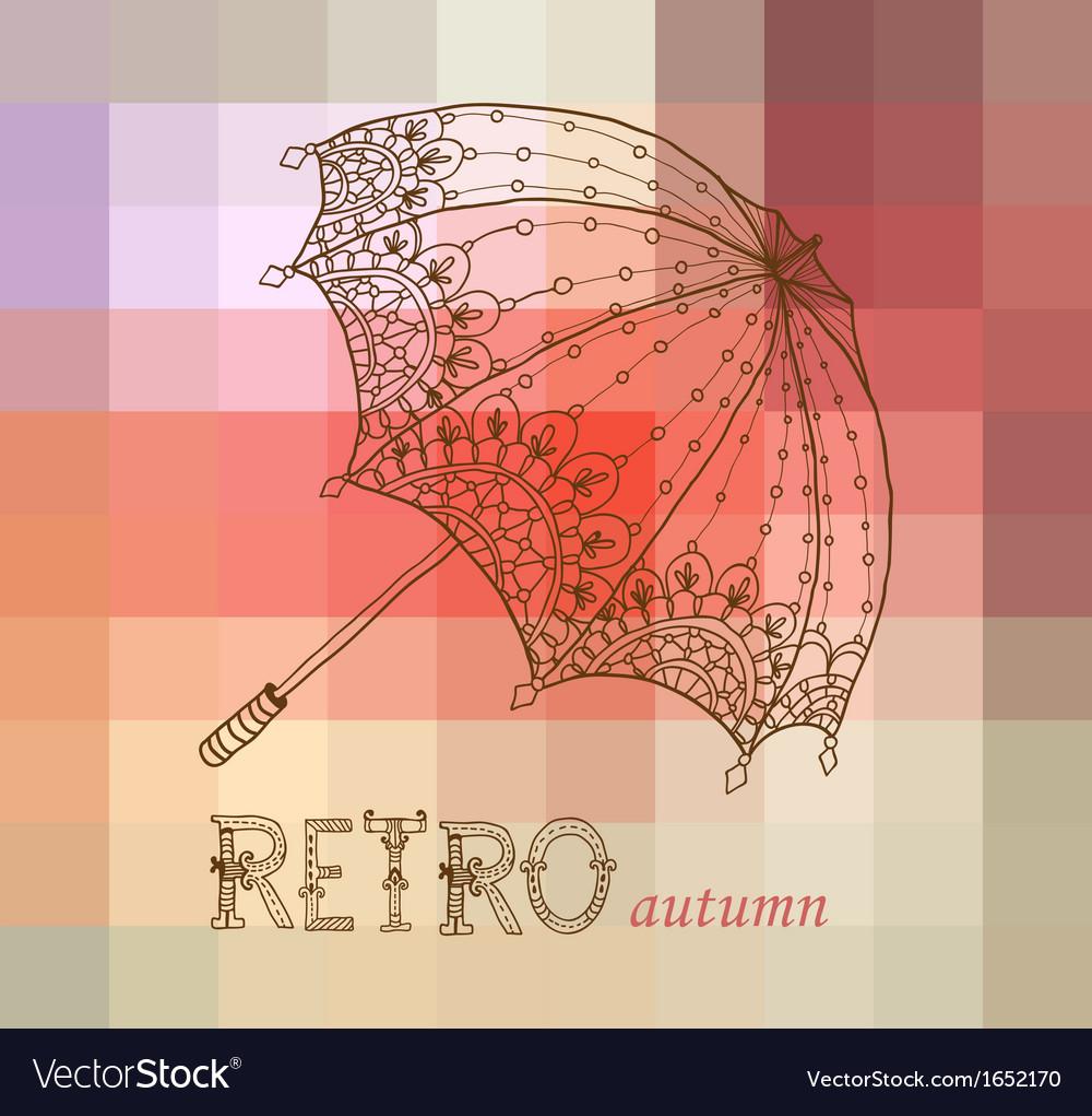 Beautiful retro umbrella vector | Price: 1 Credit (USD $1)