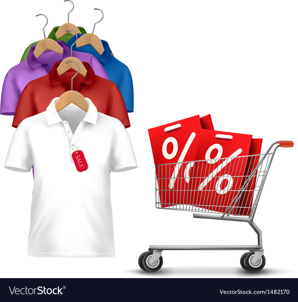 Clothes hanger with shirts with price tag concept vector | Price: 1 Credit (USD $1)