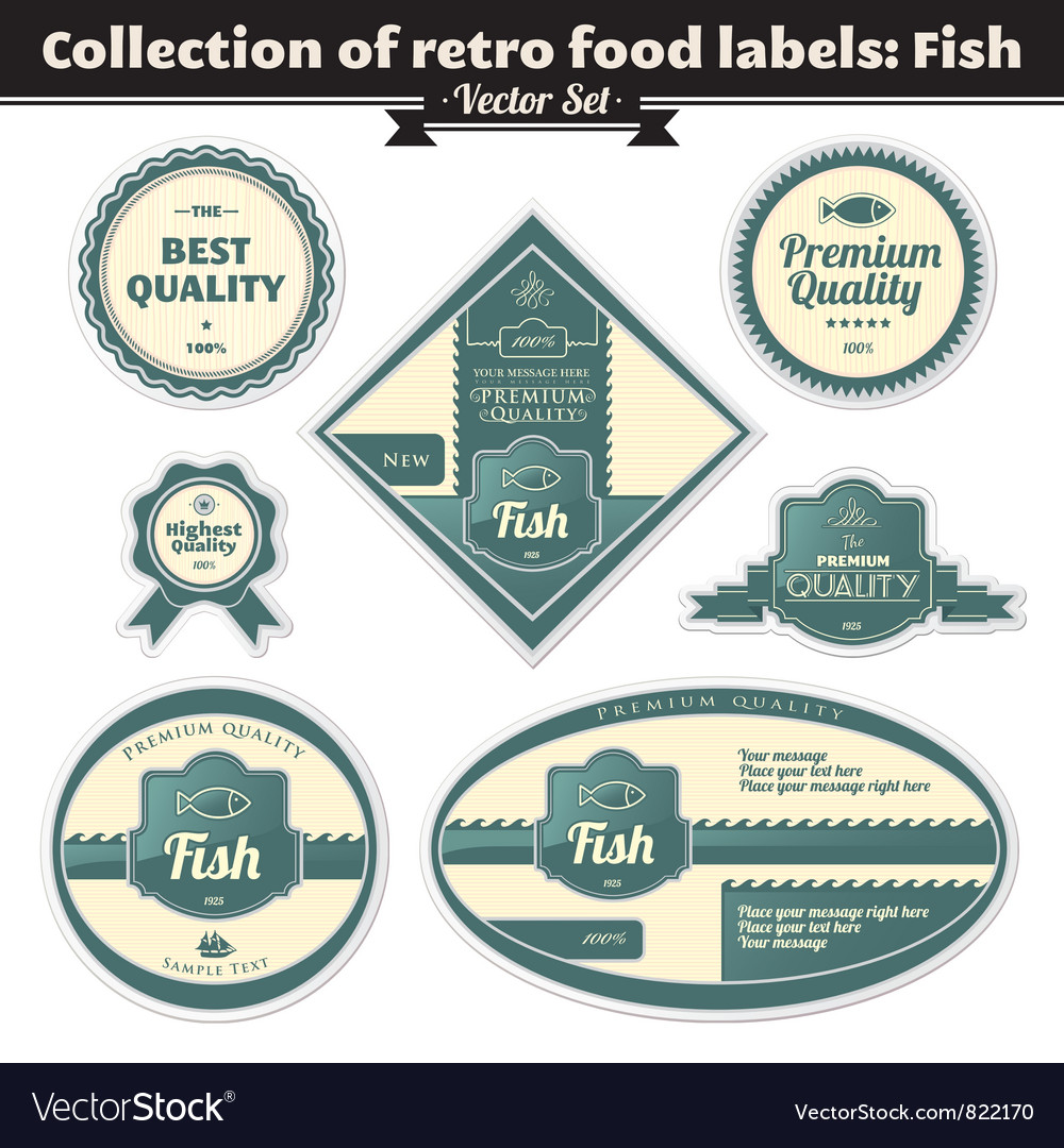 Collection of retro food labels fish vector | Price: 1 Credit (USD $1)