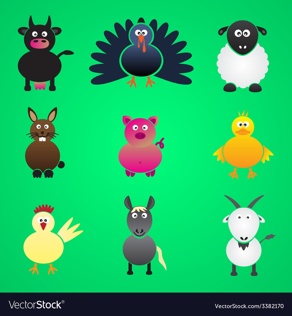 Colorful farm animals simple icons set eps10 vector | Price: 1 Credit (USD $1)