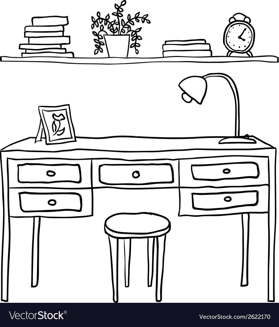 Desk and shelf with books vector | Price: 1 Credit (USD $1)