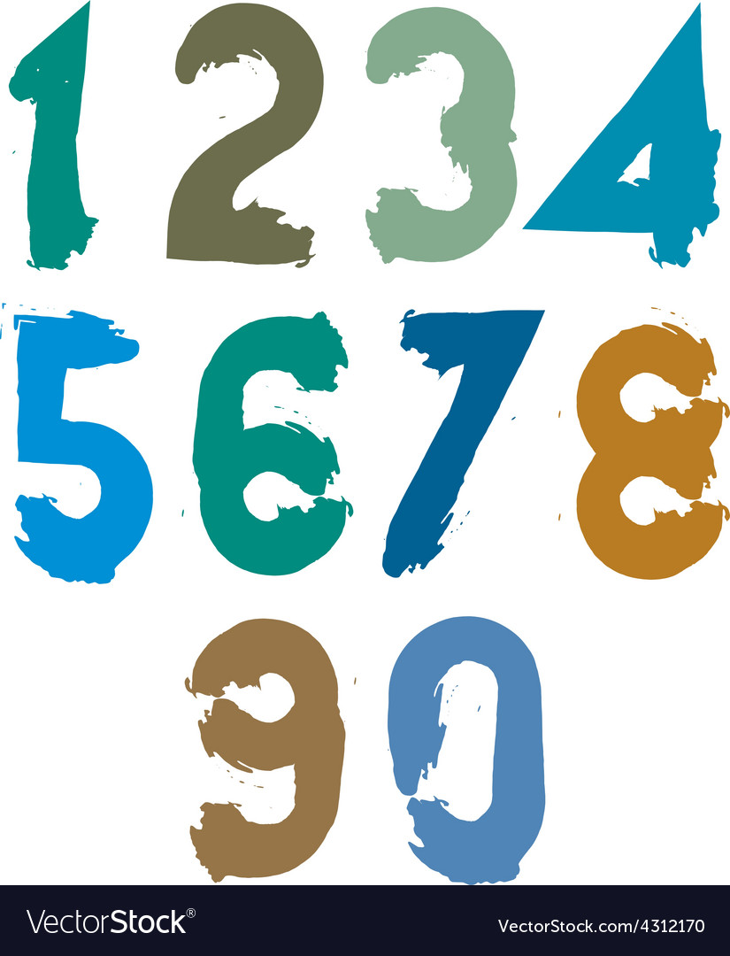Handwritten contemporary digit set doodle vector | Price: 1 Credit (USD $1)