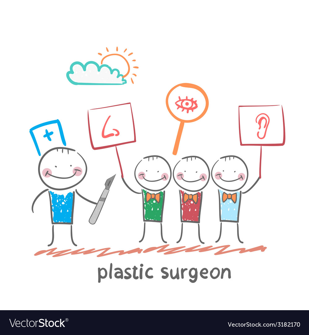 Plastic surgeon looks at people with placards vector | Price: 1 Credit (USD $1)