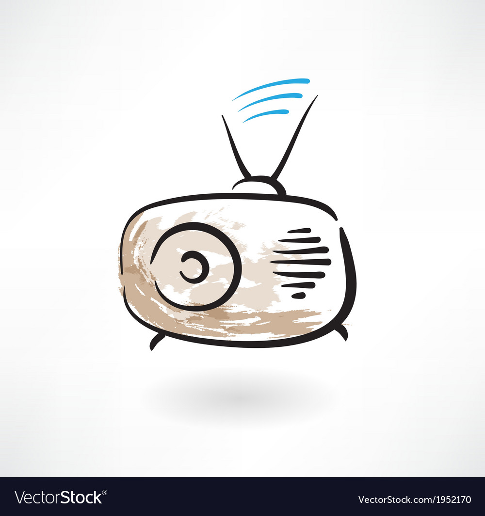 Radio grunge icon vector | Price: 1 Credit (USD $1)