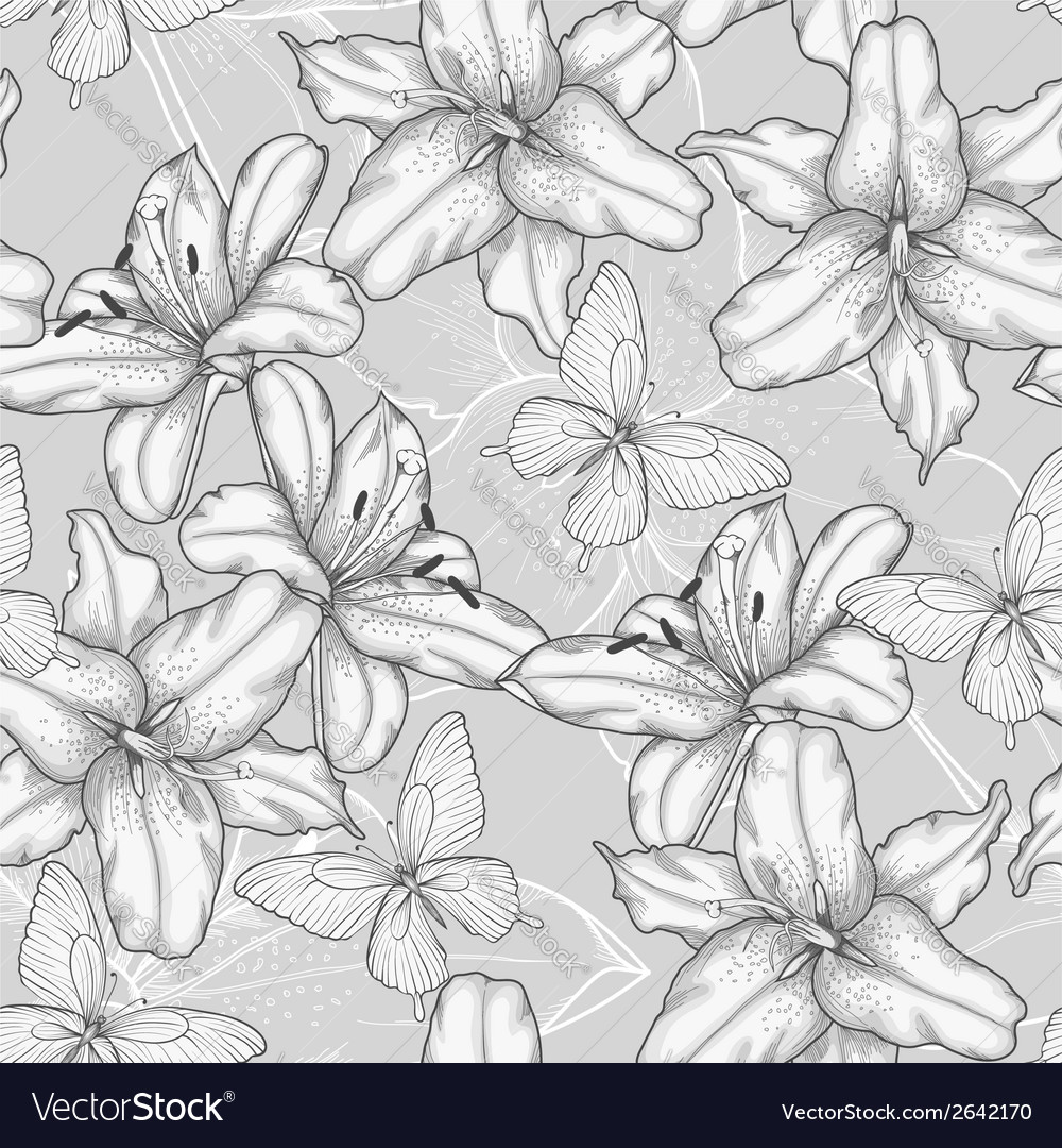 Seamless background with lilies and butterflies vector | Price: 1 Credit (USD $1)