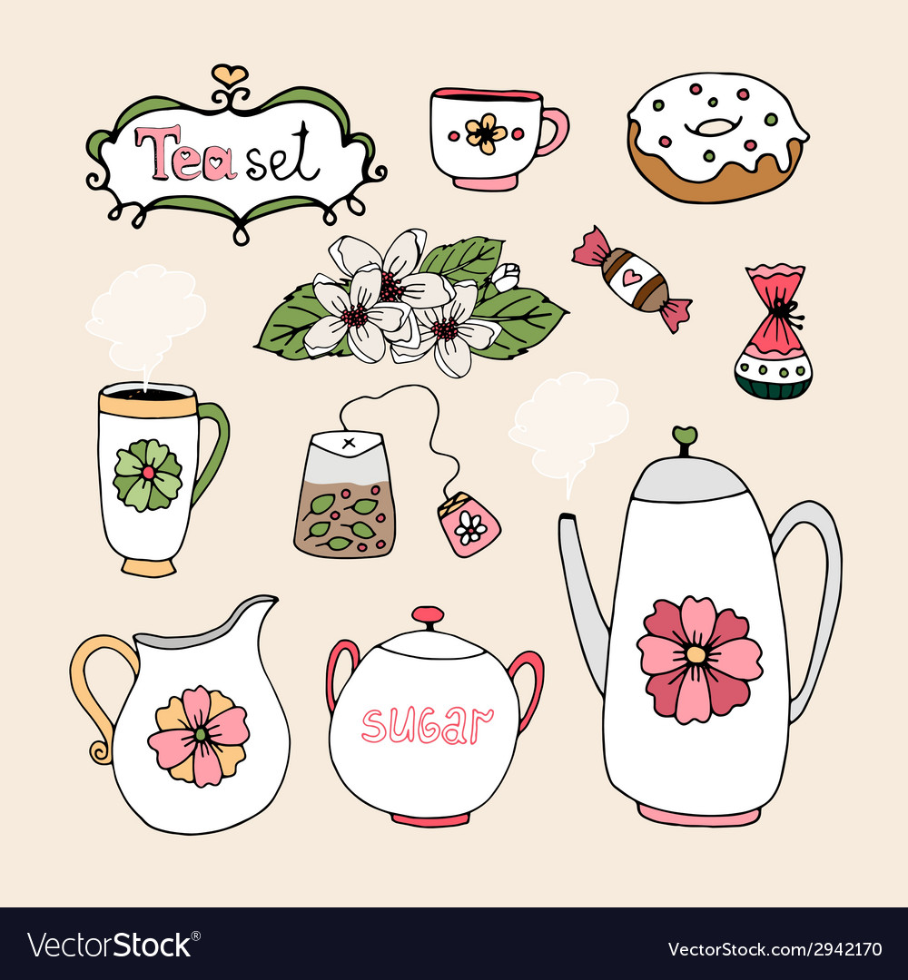 Set of tea service icons vector | Price: 1 Credit (USD $1)