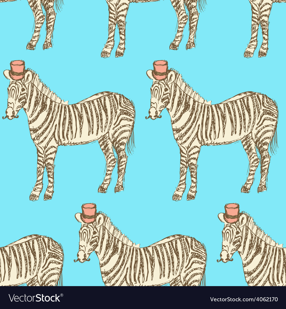Sketch fancy zebra in vintage style vector | Price: 1 Credit (USD $1)