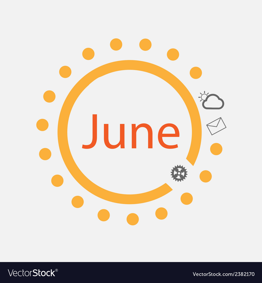 Sun symbol with june text inside vector | Price: 1 Credit (USD $1)