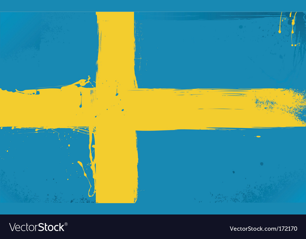 Swedish flag grunge style vector | Price: 1 Credit (USD $1)