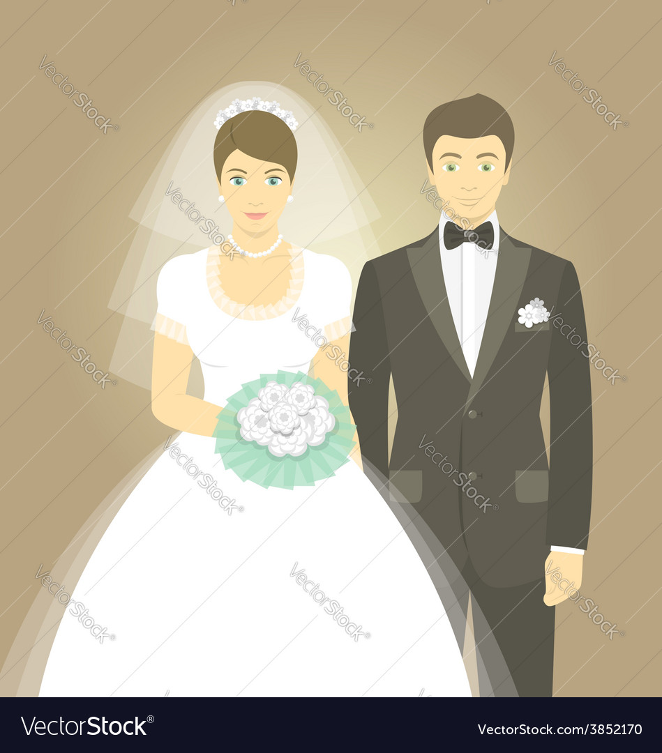 Wedding portrait of bride and groom vector   Price: 1 Credit (USD $1)