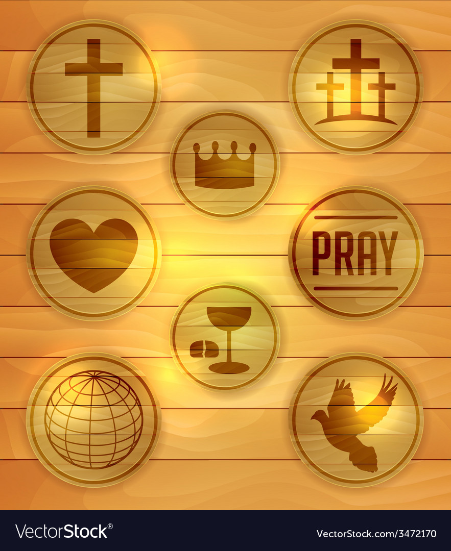 Wooden religious icons and badges vector | Price: 1 Credit (USD $1)