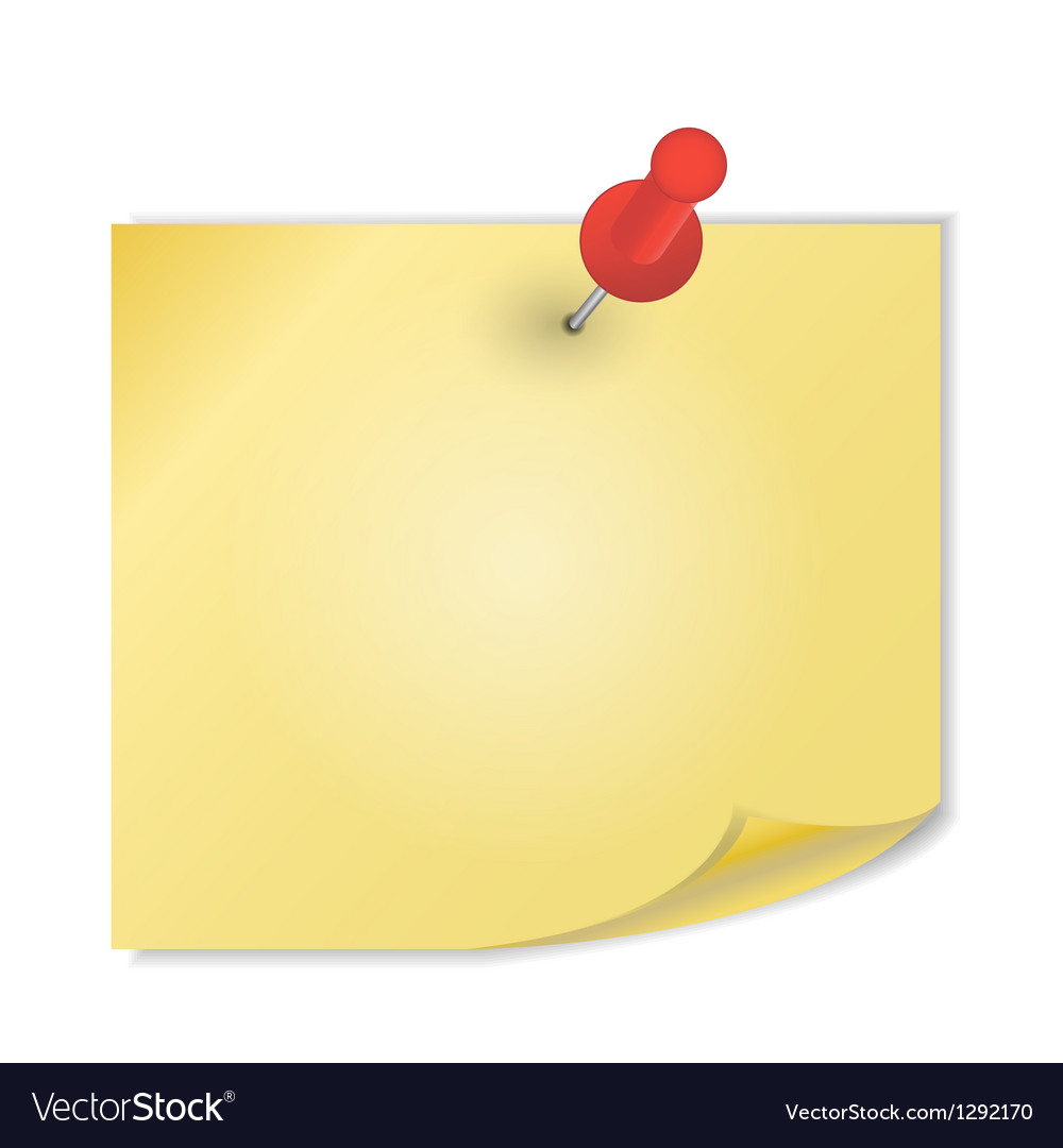 Yellow paper with pin on white background vector | Price: 1 Credit (USD $1)