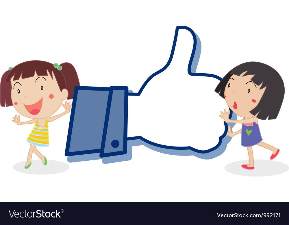 Cartoon girls like thumb vector | Price: 1 Credit (USD $1)