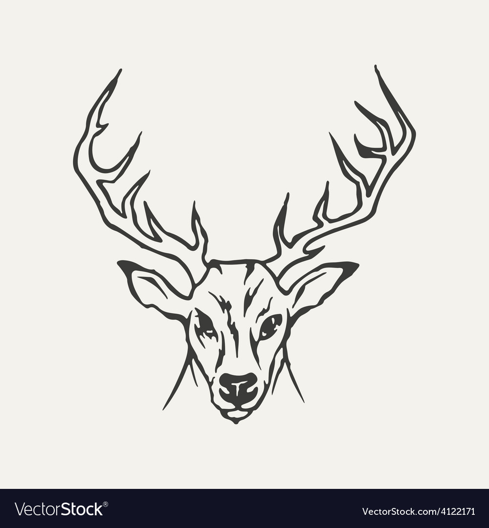 Deer black and white style vector | Price: 1 Credit (USD $1)