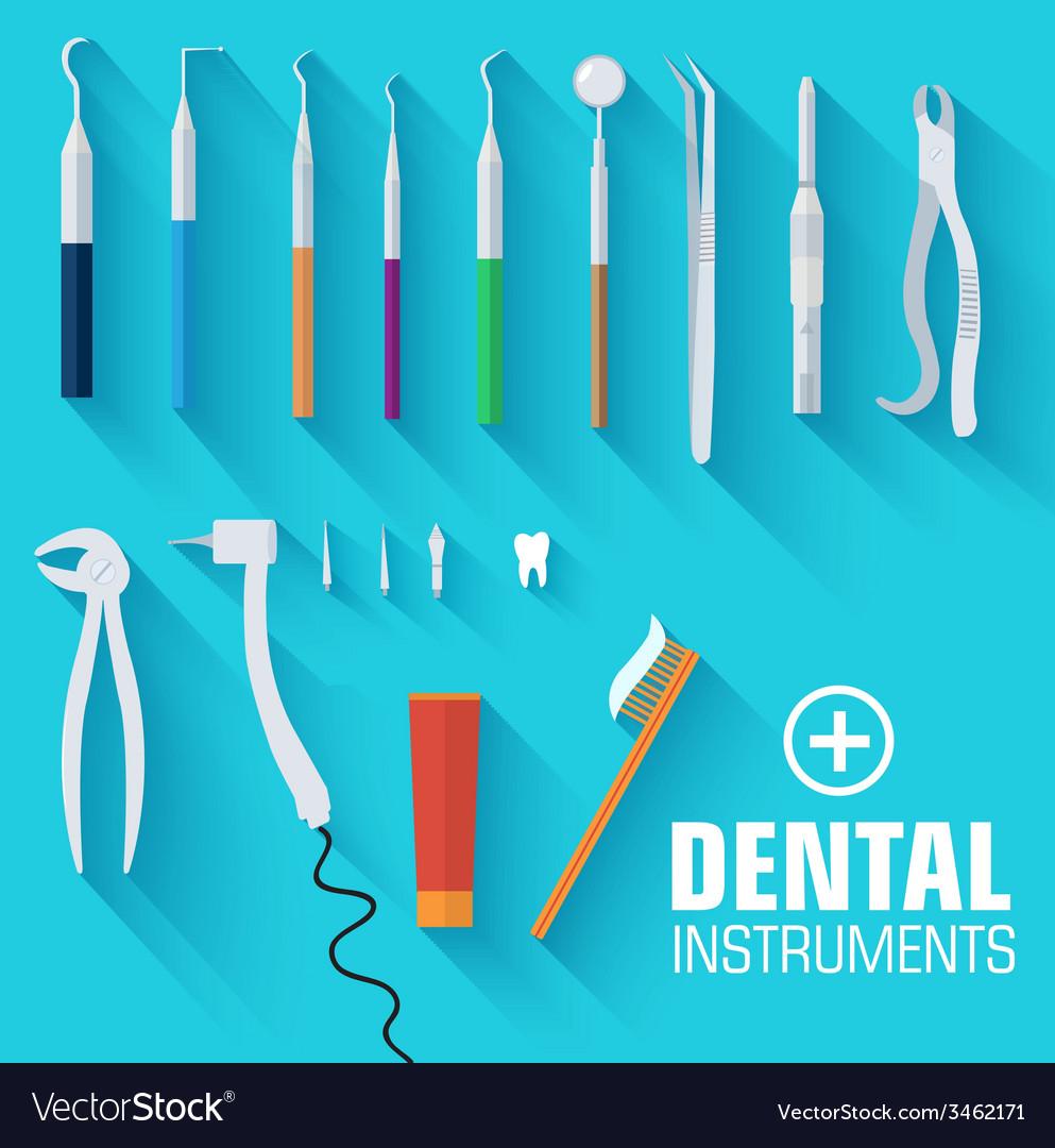 Flat dental instruments set design concept vector | Price: 1 Credit (USD $1)