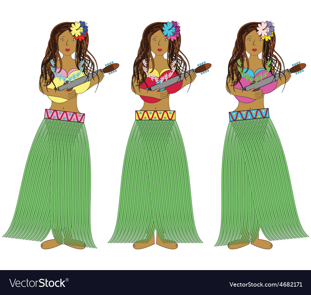 Hawaiian hula girls with guitars vector | Price: 1 Credit (USD $1)