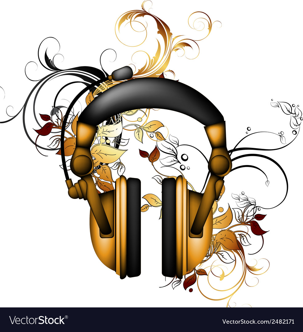 Headphones with floral elements vector | Price: 1 Credit (USD $1)