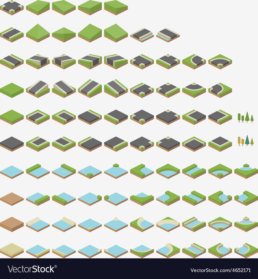Isometric road tiles vector | Price: 1 Credit (USD $1)