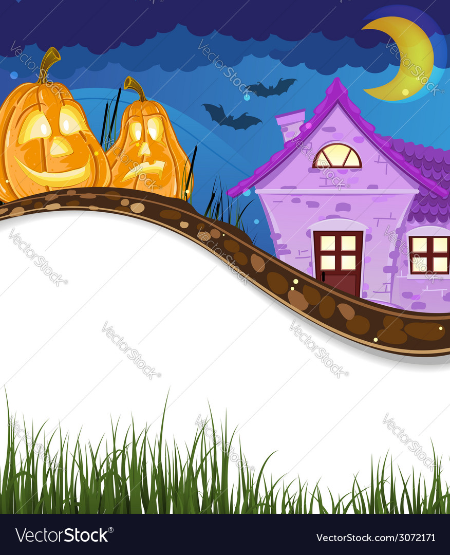 Jack o lanterns near the house vector | Price: 3 Credit (USD $3)
