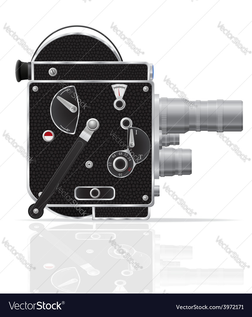 Old retro vintage movie video camera 01 vector | Price: 3 Credit (USD $3)