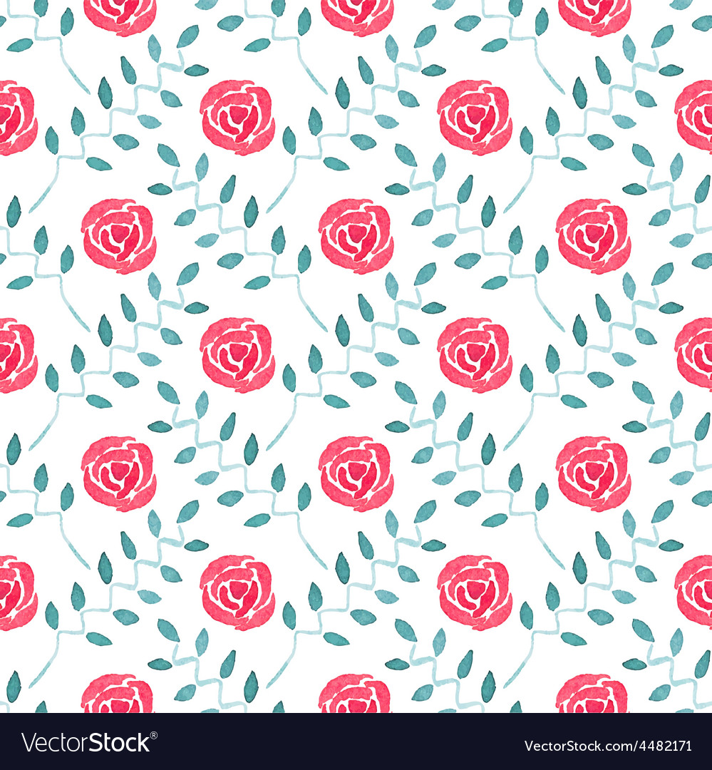 Seamless watercolor pattern with roses on the vector | Price: 1 Credit (USD $1)