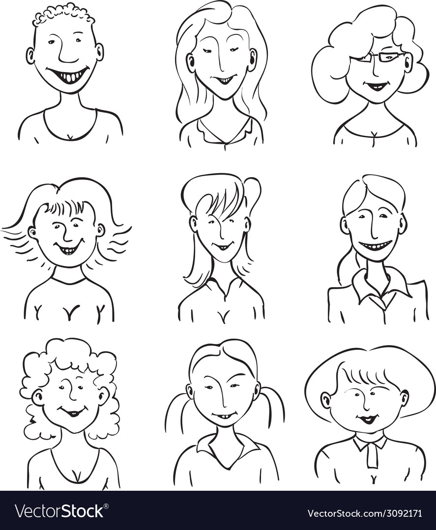 Smiling faces of girls vector | Price: 1 Credit (USD $1)