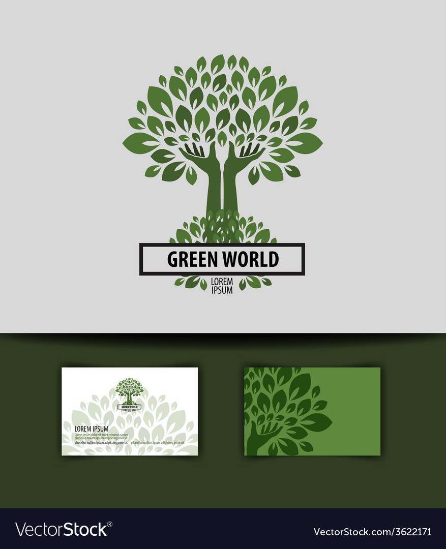 Tree logo icon sign emblem template business card vector | Price: 1 Credit (USD $1)