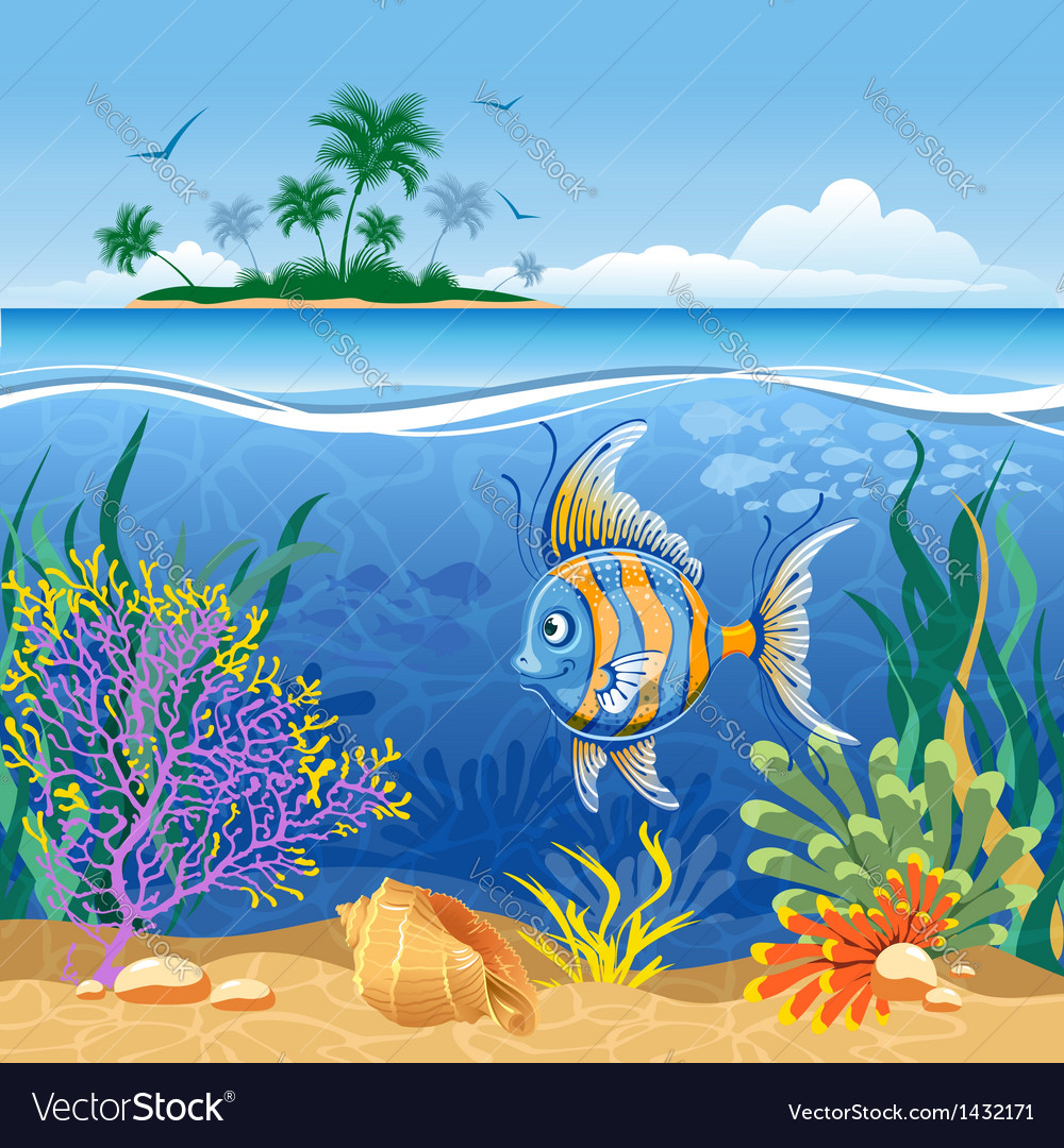 Tropical landscape vector | Price: 5 Credit (USD $5)