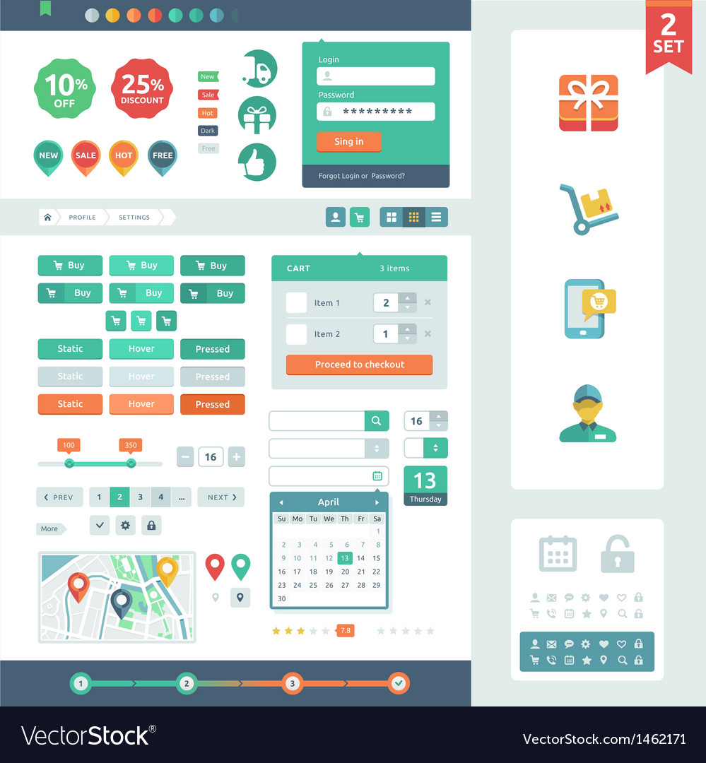 Ui elements for web and mobile vector | Price: 1 Credit (USD $1)