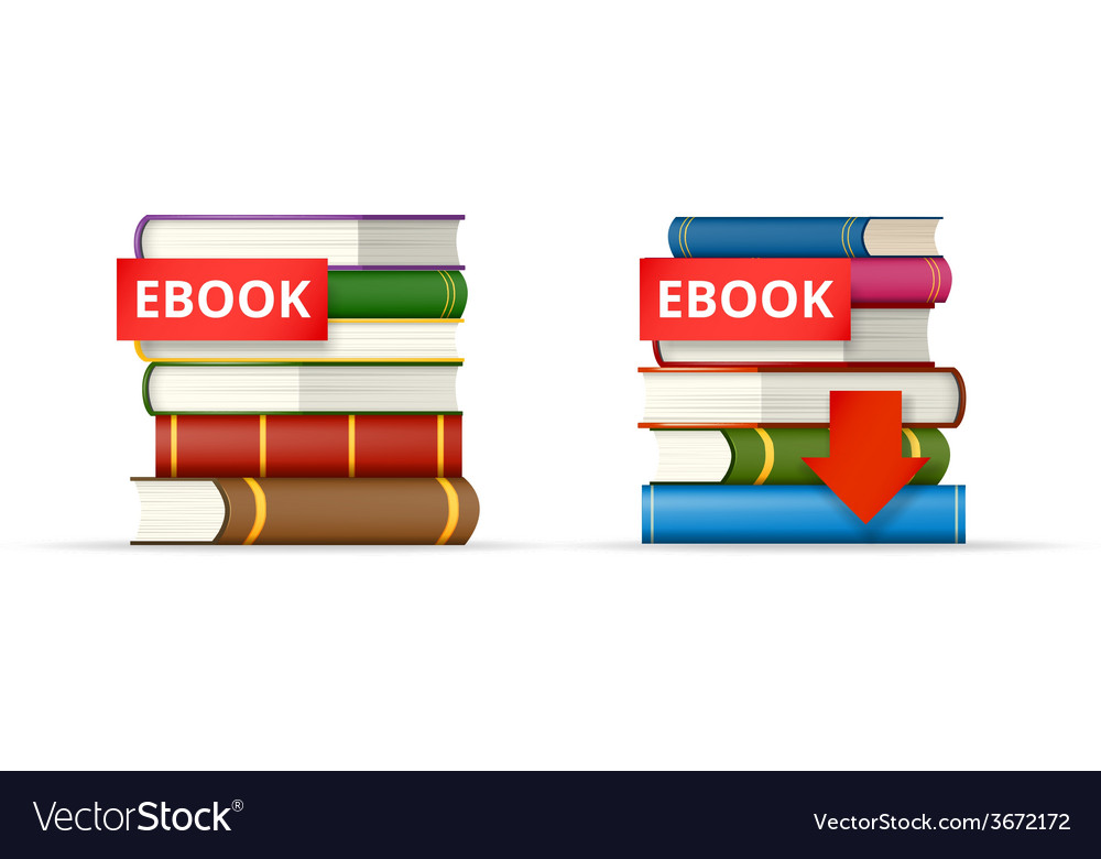 Ebook books stacks icons vector | Price: 1 Credit (USD $1)