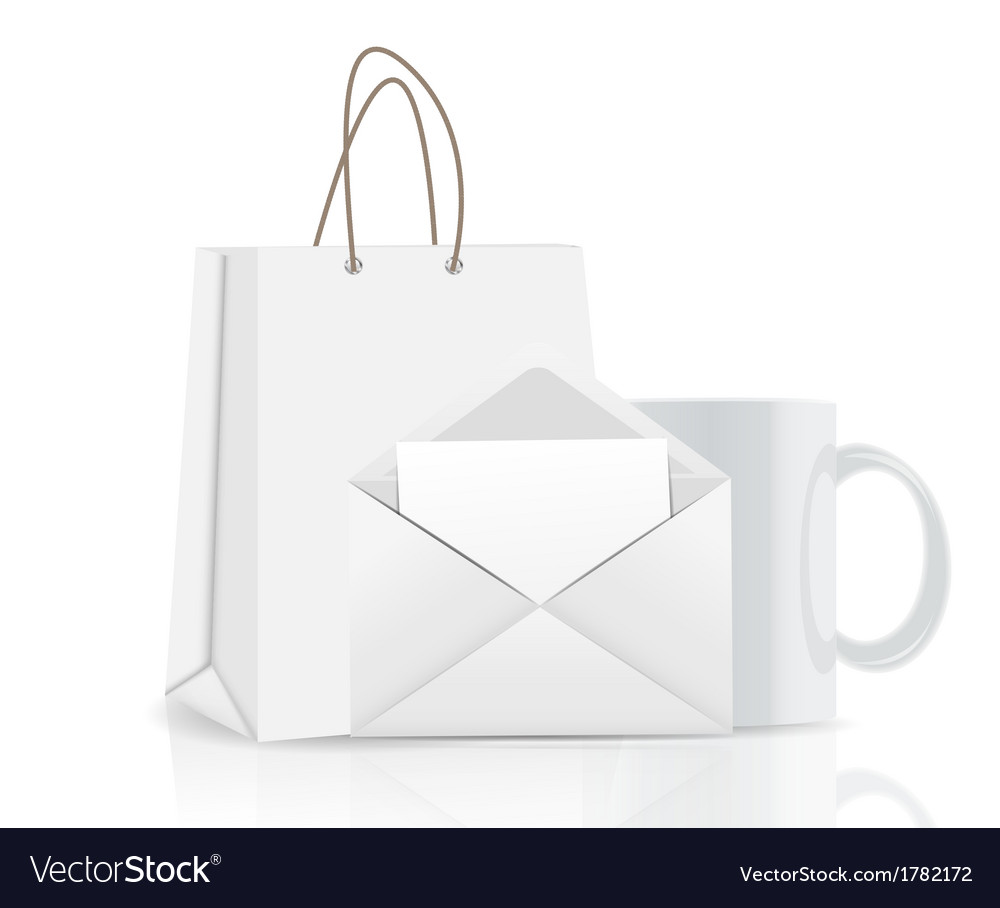 Empty shopping bag envelope and cup for vector | Price: 1 Credit (USD $1)